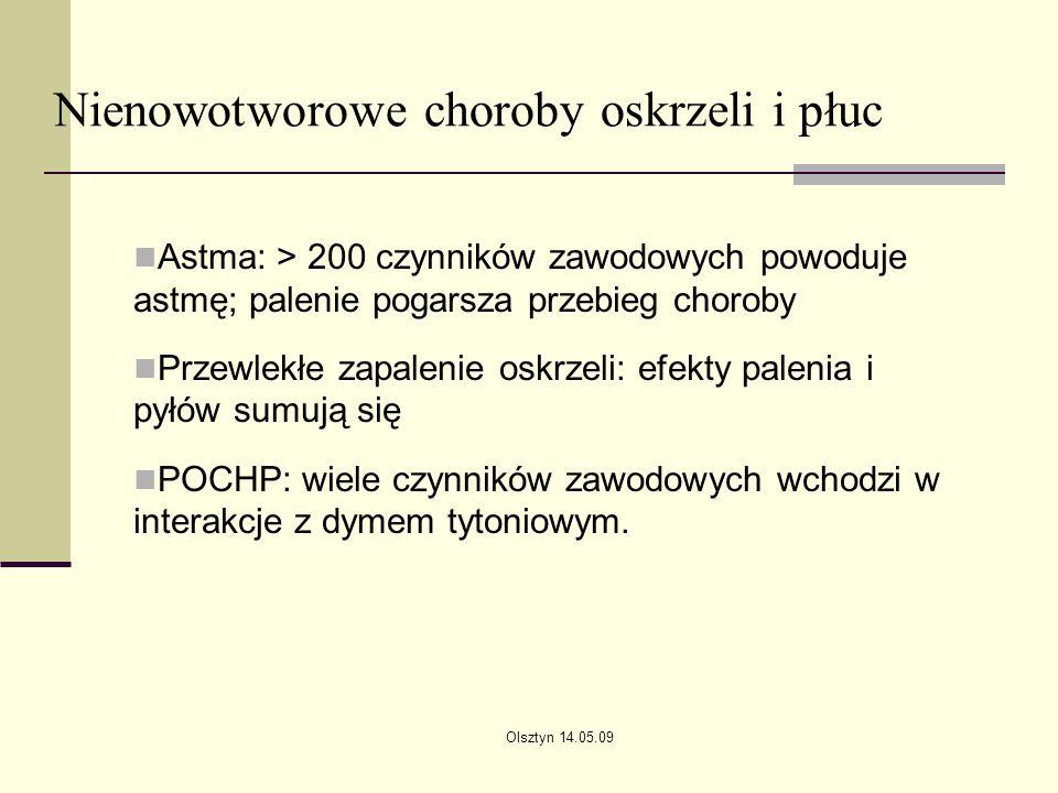 Olsztyn 14.05.09 Nienowotworowe choroby oskrzeli i płuc Astma: > 200 czynników zawodowych powoduje astmę; palenie pogarsza przebieg choroby Przewlekłe