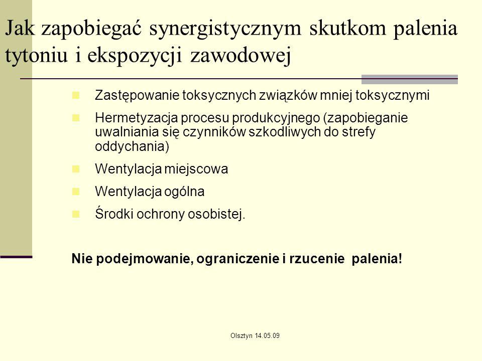 Olsztyn 14.05.09 Jak zapobiegać synergistycznym skutkom palenia tytoniu i ekspozycji zawodowej Zastępowanie toksycznych związków mniej toksycznymi Her