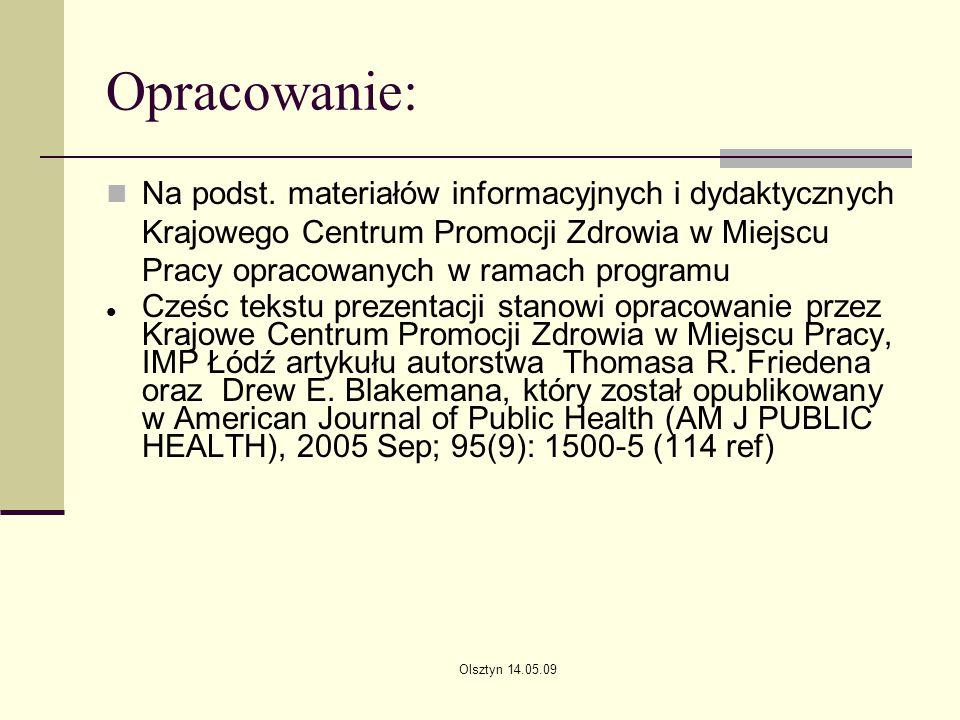 Olsztyn 14.05.09 Opracowanie: Na podst. materiałów informacyjnych i dydaktycznych Krajowego Centrum Promocji Zdrowia w Miejscu Pracy opracowanych w ra