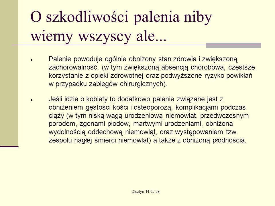 Olsztyn 14.05.09 O szkodliwości palenia niby wiemy wszyscy ale... Palenie powoduje ogólnie obniżony stan zdrowia i zwiększoną zachorowalność, (w tym z