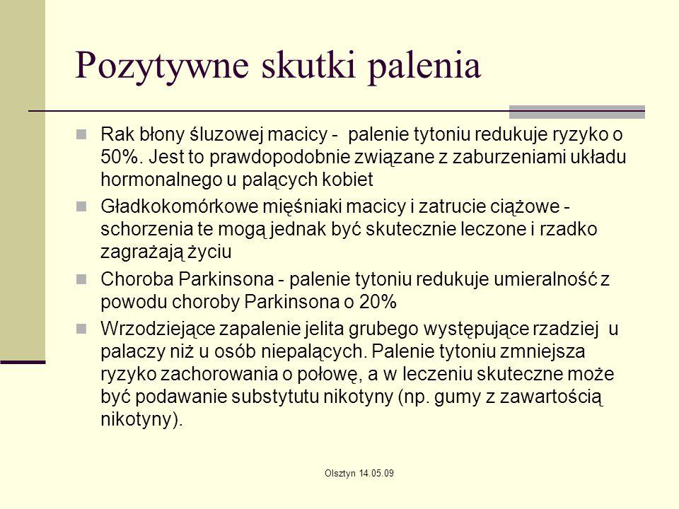 Olsztyn 14.05.09 Pozytywne skutki palenia Rak błony śluzowej macicy - palenie tytoniu redukuje ryzyko o 50%. Jest to prawdopodobnie związane z zaburze