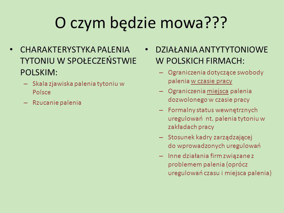 O czym będzie mowa??? CHARAKTERYSTYKA PALENIA TYTONIU W SPOŁECZEŃSTWIE POLSKIM: – Skala zjawiska palenia tytoniu w Polsce – Rzucanie palenia DZIAŁANIA