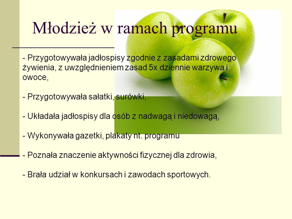 Młodzież w ramach programu - Przygotowywała jadłospisy zgodnie z zasadami zdrowego żywienia, z uwzględnieniem zasad 5x dziennie warzywa i owoce, - Prz