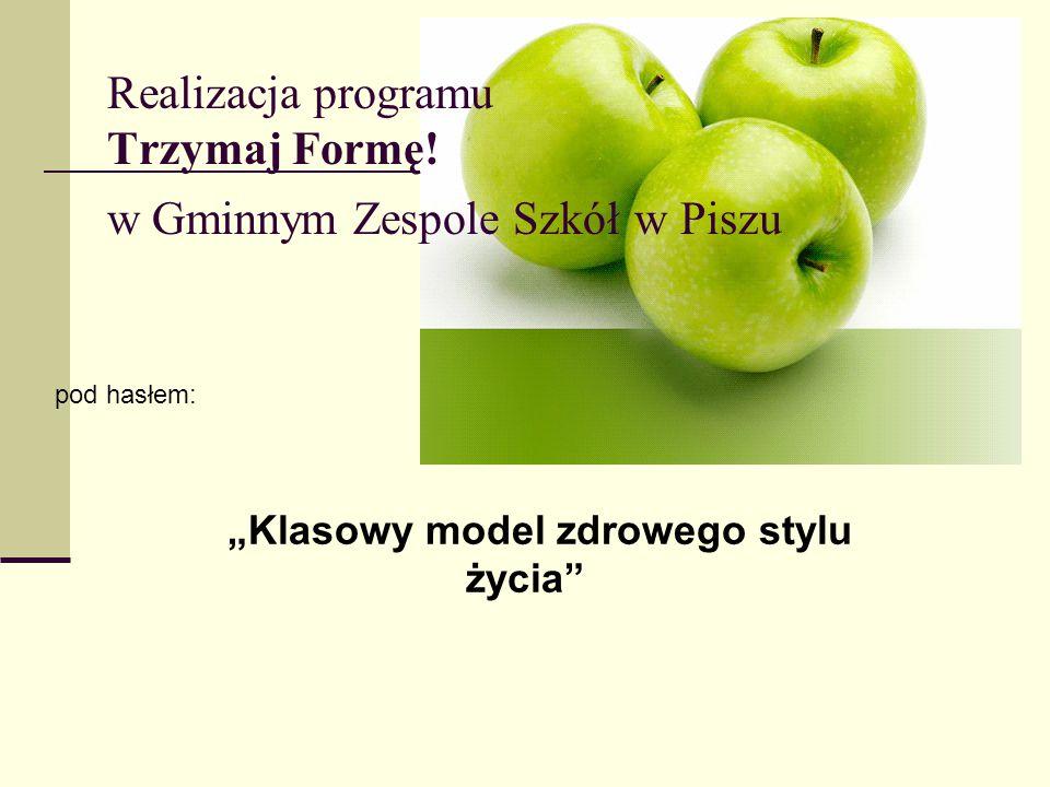 """Realizacja programu Trzymaj Formę! w Gminnym Zespole Szkół w Piszu pod hasłem: """"Klasowy model zdrowego stylu życia"""""""