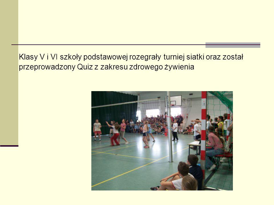 Klasy V i VI szkoły podstawowej rozegrały turniej siatki oraz został przeprowadzony Quiz z zakresu zdrowego żywienia