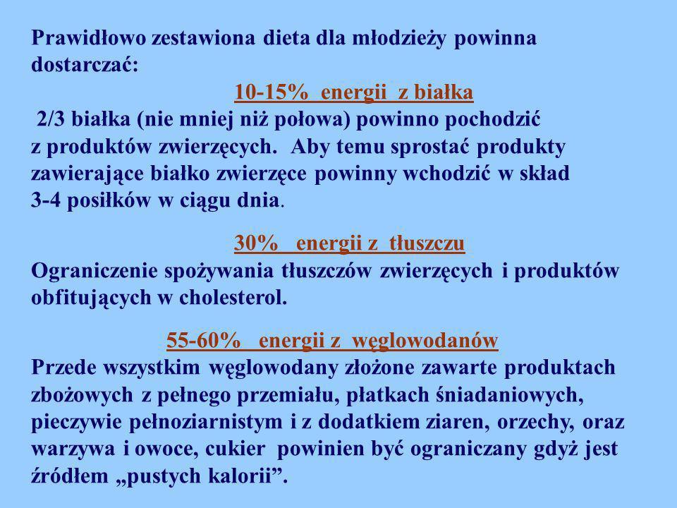 Prawidłowo zestawiona dieta dla młodzieży powinna dostarczać: 10-15% energii z białka 2/3 białka (nie mniej niż połowa) powinno pochodzić z produktów