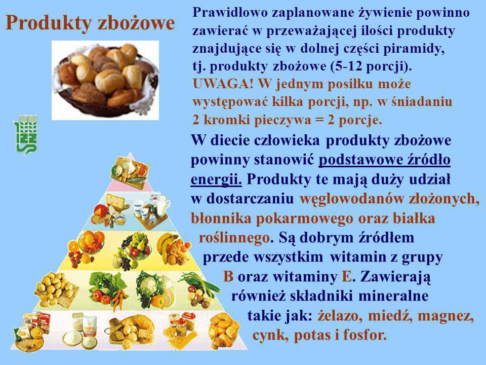 W diecie człowieka produkty zbożowe powinny stanowić podstawowe źródło energii. Produkty te mają duży udział w dostarczaniu węglowodanów złożonych, bł