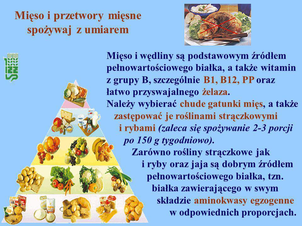 Mięso i przetwory mięsne spożywaj z umiarem Mięso i wędliny są podstawowym źródłem pełnowartościowego białka, a także witamin z grupy B, szczególnie B