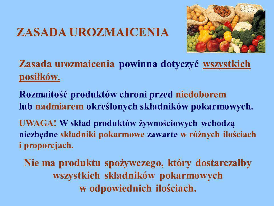 ZASADA UROZMAICENIA Zasada urozmaicenia powinna dotyczyć wszystkich posiłków. Rozmaitość produktów chroni przed niedoborem lub nadmiarem określonych s