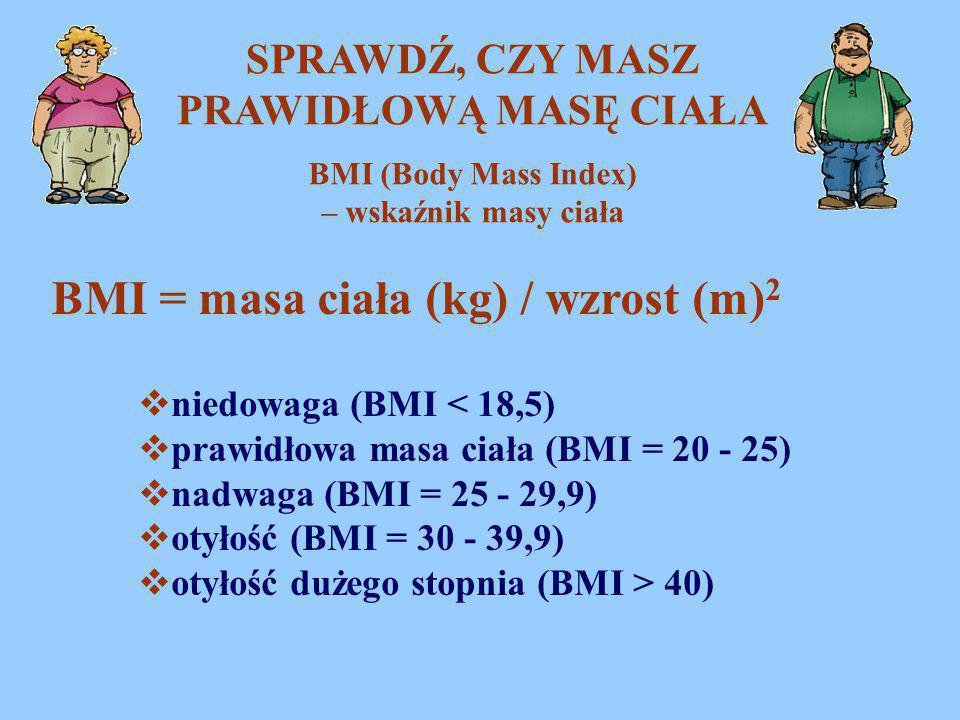 SPRAWDŹ, CZY MASZ PRAWIDŁOWĄ MASĘ CIAŁA BMI = masa ciała (kg) / wzrost (m) 2  niedowaga (BMI < 18,5)  prawidłowa masa ciała (BMI = 20 - 25)  nadwag