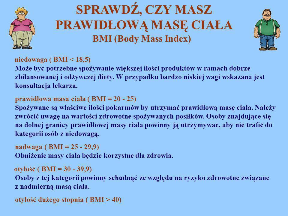 SPRAWDŹ, CZY MASZ PRAWIDŁOWĄ MASĘ CIAŁA BMI (Body Mass Index) niedowaga ( BMI < 18,5) Może być potrzebne spożywanie większej ilości produktów w ramach