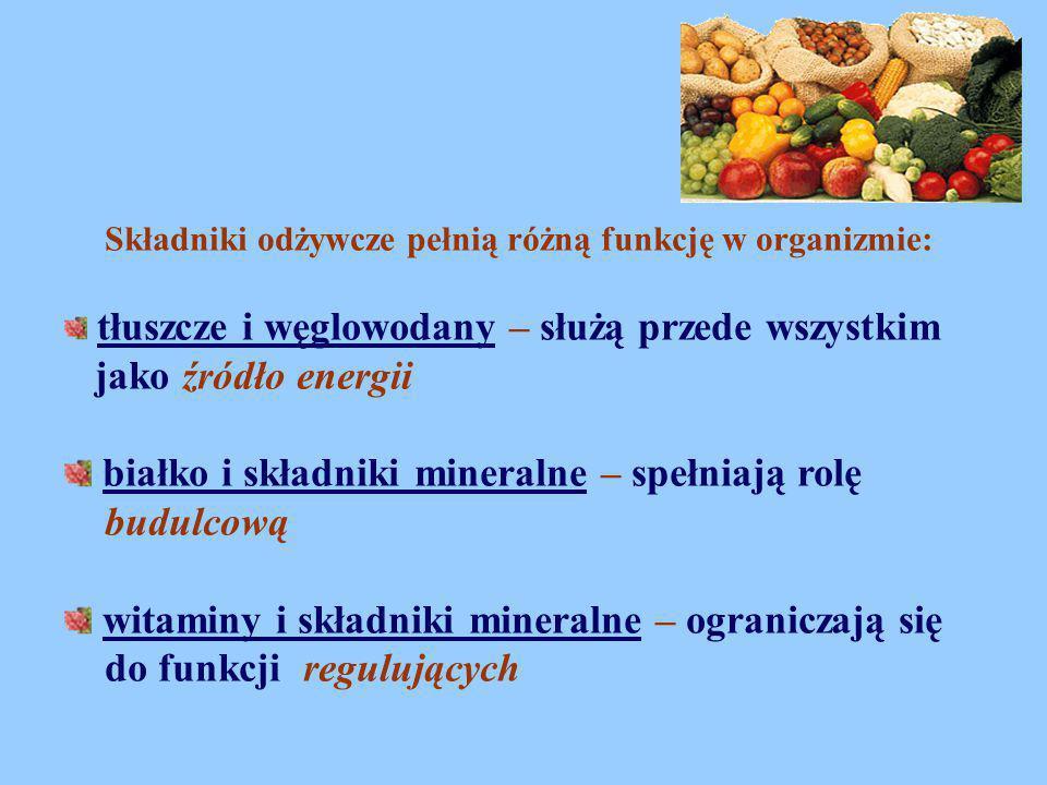 Składniki odżywcze pełnią różną funkcję w organizmie: tłuszcze i węglowodany – służą przede wszystkim jako źródło energii białko i składniki mineralne