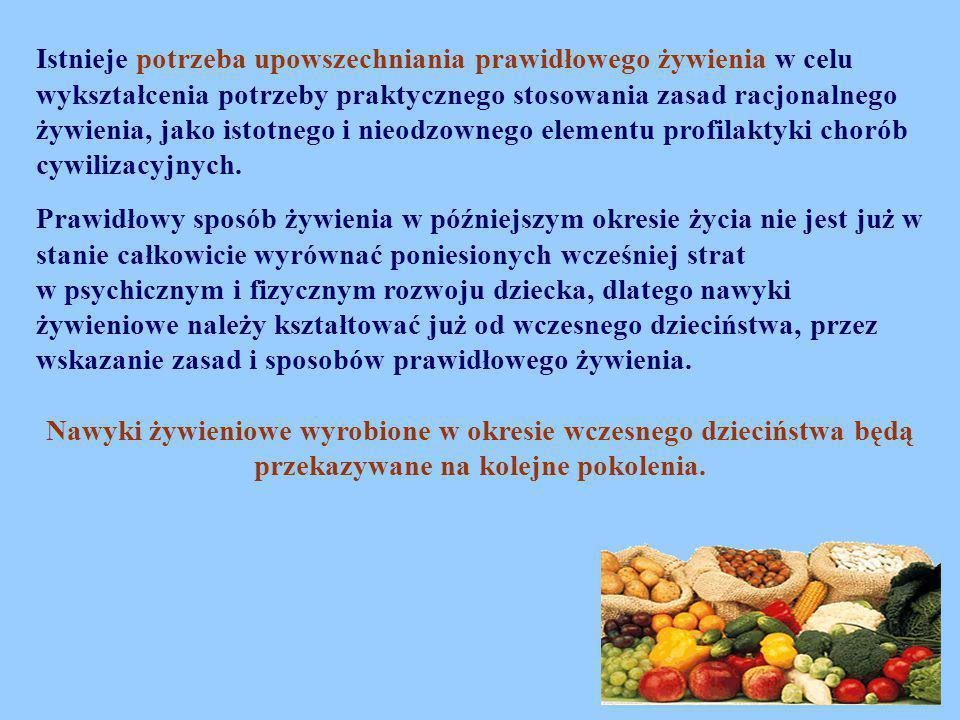 Istnieje potrzeba upowszechniania prawidłowego żywienia w celu wykształcenia potrzeby praktycznego stosowania zasad racjonalnego żywienia, jako istotn