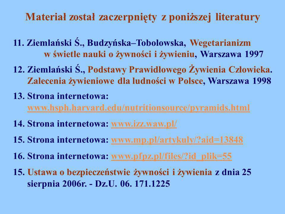 11. Ziemlański Ś., Budzyńska–Tobolowska, Wegetarianizm w świetle nauki o żywności i żywieniu, Warszawa 1997 12. Ziemlański Ś., Podstawy Prawidłowego Ż