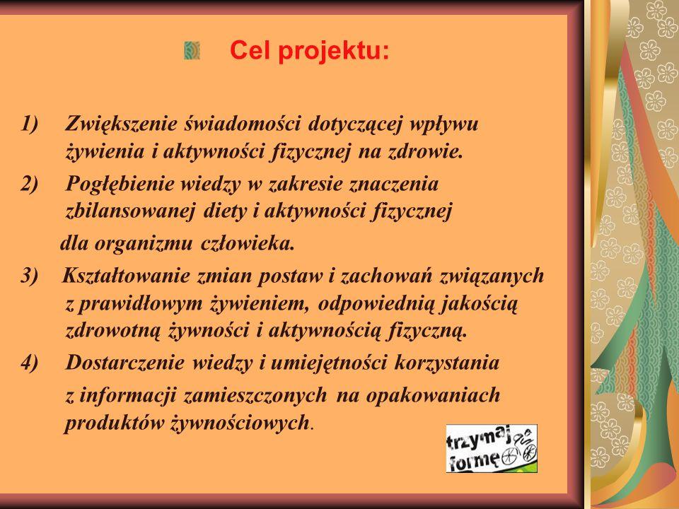 Cel projektu: 1)Zwiększenie świadomości dotyczącej wpływu żywienia i aktywności fizycznej na zdrowie.
