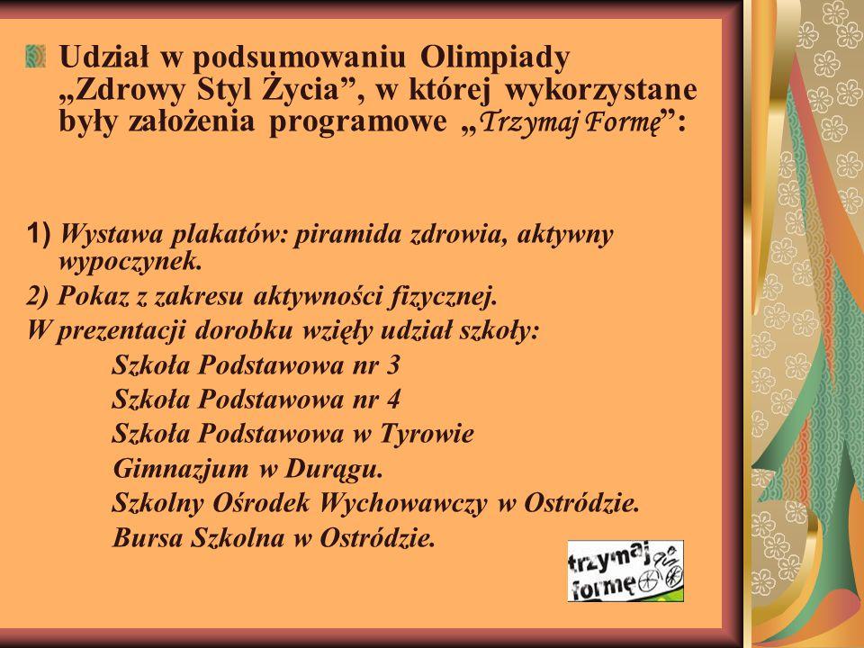 """Udział w podsumowaniu Olimpiady """"Zdrowy Styl Życia , w której wykorzystane były założenia programowe """" Trzymaj Formę : 1) Wystawa plakatów: piramida zdrowia, aktywny wypoczynek."""