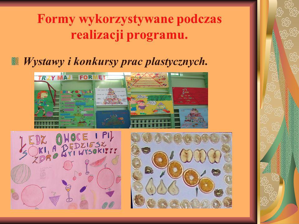 Formy wykorzystywane podczas realizacji programu. Wystawy i konkursy prac plastycznych.