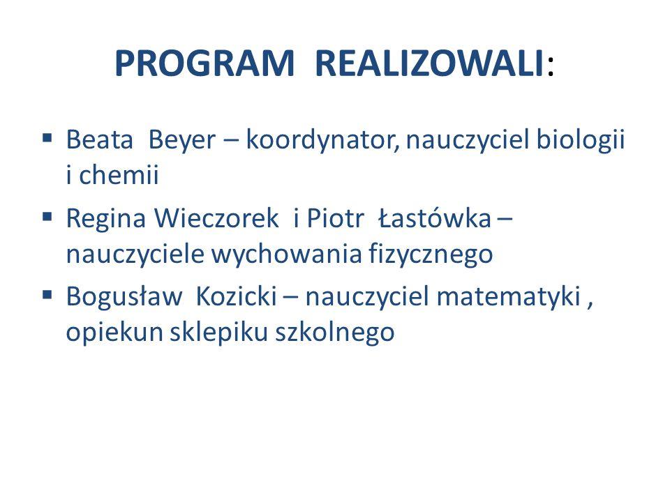 PROGRAM REALIZOWALI:  Beata Beyer – koordynator, nauczyciel biologii i chemii  Regina Wieczorek i Piotr Łastówka – nauczyciele wychowania fizycznego