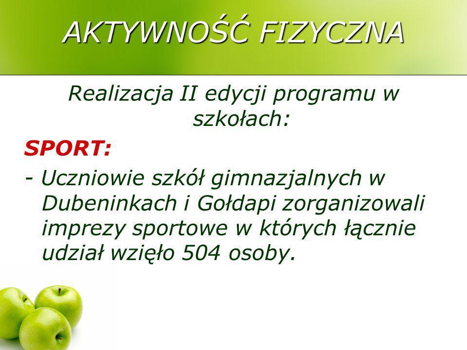 AKTYWNOŚĆ FIZYCZNA Realizacja II edycji programu w szkołach: SPORT: - Uczniowie szkół gimnazjalnych w Dubeninkach i Gołdapi zorganizowali imprezy sportowe w których łącznie udział wzięło 504 osoby.