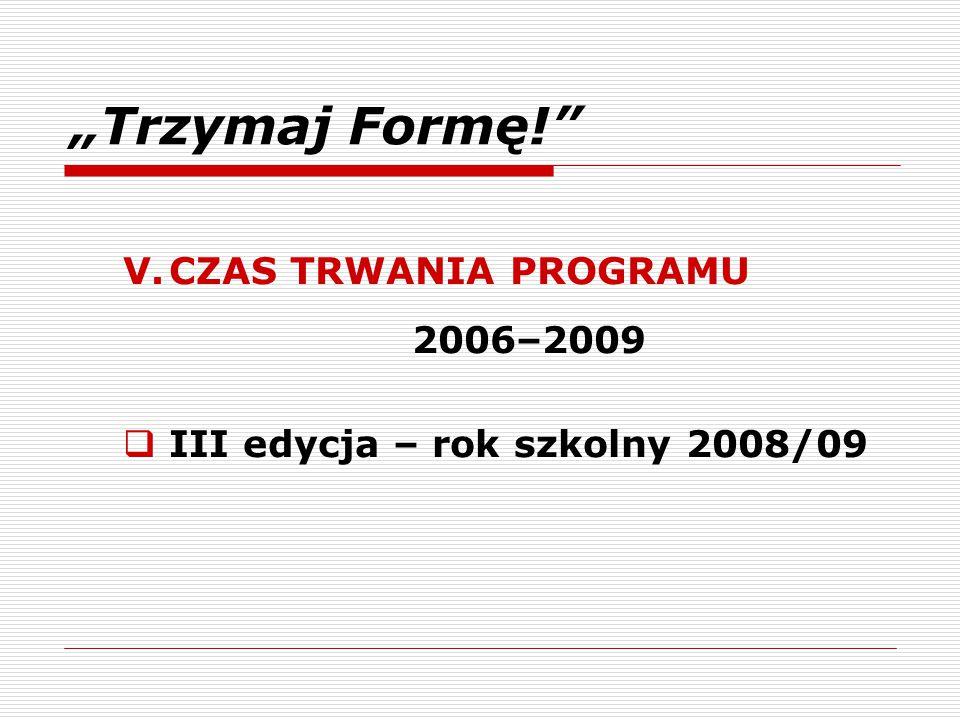 """""""Trzymaj Formę!"""" V.CZAS TRWANIA PROGRAMU 2006–2009  III edycja – rok szkolny 2008/09"""