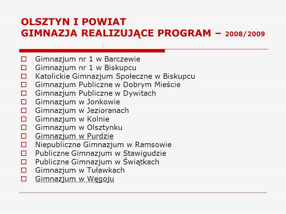 OLSZTYN I POWIAT GIMNAZJA REALIZUJĄCE PROGRAM – 2008/2009  Gimnazjum nr 1 w Barczewie  Gimnazjum nr 1 w Biskupcu  Katolickie Gimnazjum Społeczne w