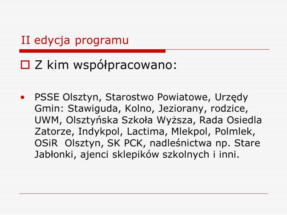 II edycja programu  Z kim współpracowano: PSSE Olsztyn, Starostwo Powiatowe, Urzędy Gmin: Stawiguda, Kolno, Jeziorany, rodzice, UWM, Olsztyńska Szkoł