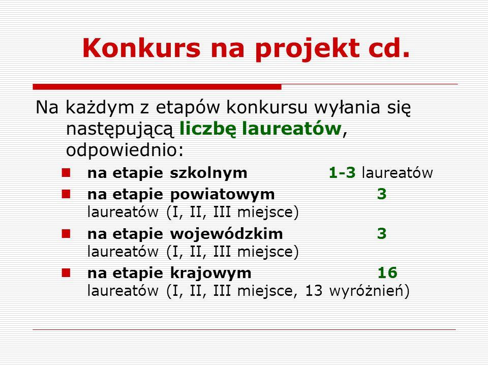 Konkurs na projekt cd. Na każdym z etapów konkursu wyłania się następującą liczbę laureatów, odpowiednio: na etapie szkolnym1-3 laureatów na etapie po