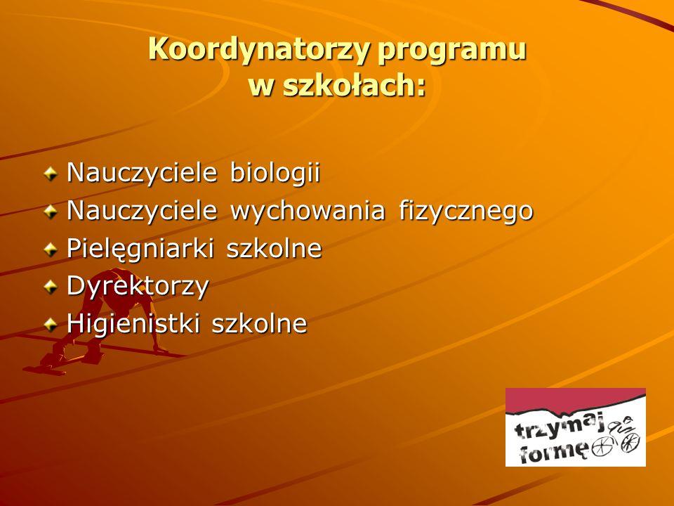 Koordynatorzy programu w szkołach: Nauczyciele biologii Nauczyciele wychowania fizycznego Pielęgniarki szkolne Dyrektorzy Higienistki szkolne