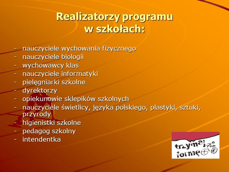 Realizatorzy programu w szkołach: -nauczyciele wychowania fizycznego -nauczyciele biologii -wychowawcy klas -nauczyciele informatyki -pielęgniarki szk