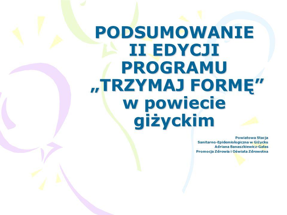 Do realizacji programu w roku szkolnym 2007/2008 przystąpiło 5 szkół gimnazjalnych : Zespół Placówek Oświatowych GIMNAZJUM w Miłkach ul.