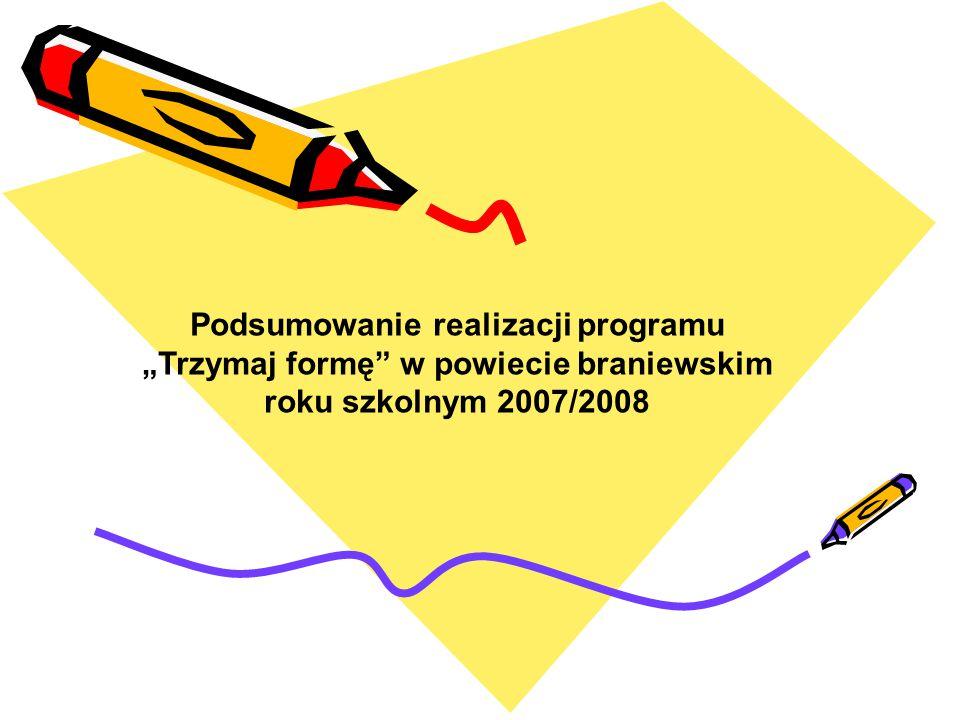 """Podsumowanie realizacji programu """"Trzymaj formę"""" w powiecie braniewskim roku szkolnym 2007/2008"""