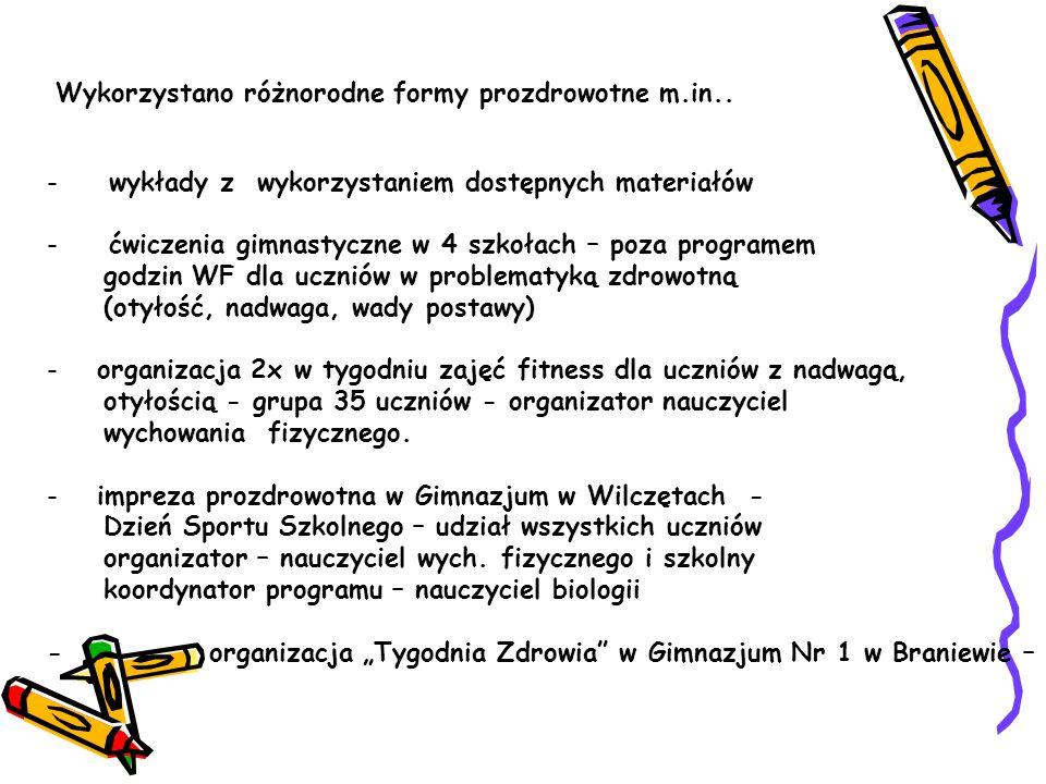 - wykłady z wykorzystaniem dostępnych materiałów - ćwiczenia gimnastyczne w 4 szkołach – poza programem godzin WF dla uczniów w problematyką zdrowotną