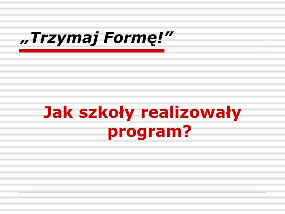 """Jak szkoły realizowały program? """"Trzymaj Formę!"""""""