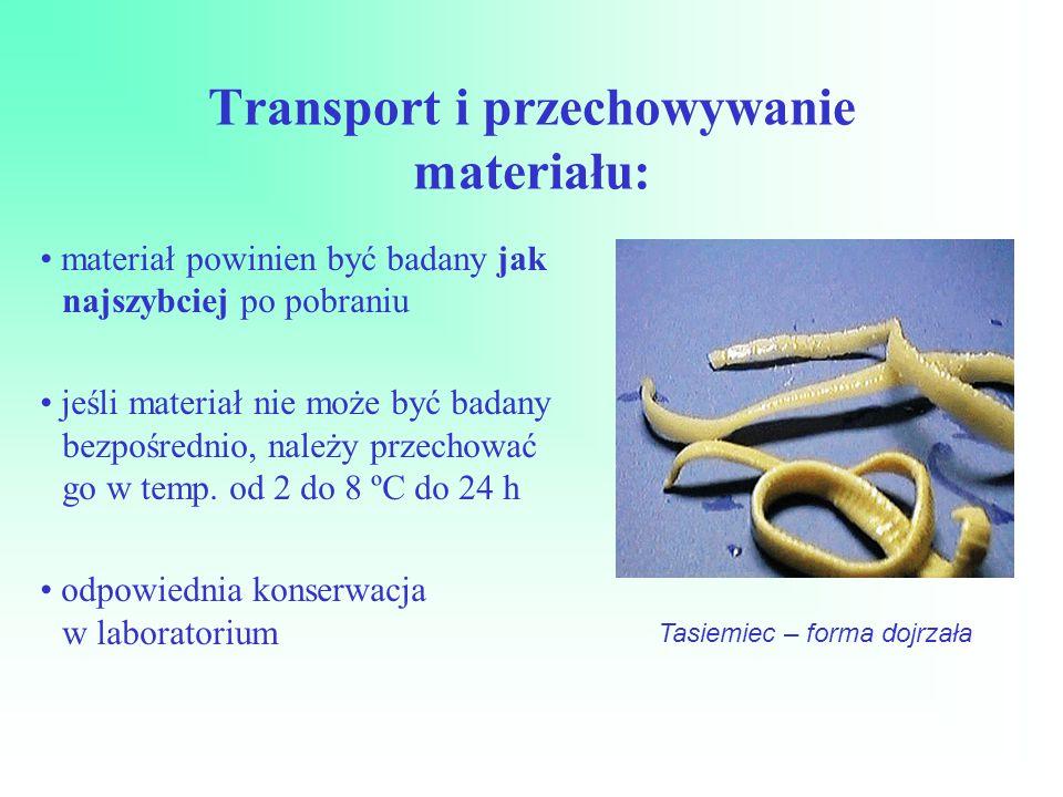 Transport i przechowywanie materiału: materiał powinien być badany jak najszybciej po pobraniu jeśli materiał nie może być badany bezpośrednio, należy przechować go w temp.