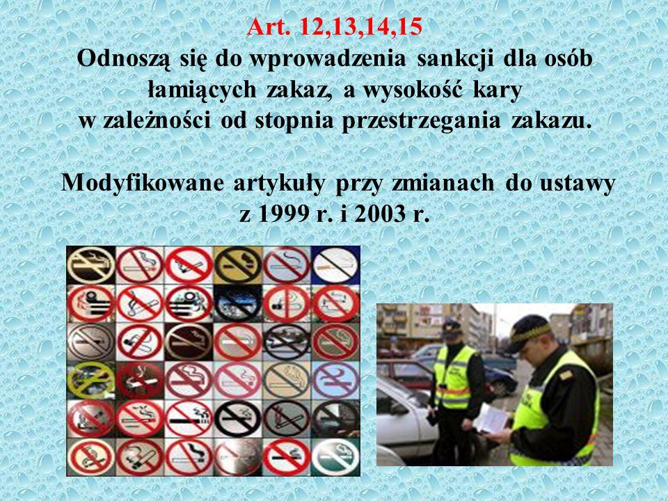 Art. 12,13,14,15 Odnoszą się do wprowadzenia sankcji dla osób łamiących zakaz, a wysokość kary w zależności od stopnia przestrzegania zakazu. Modyfiko
