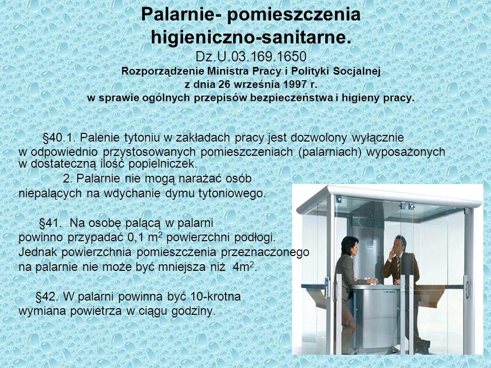 Palarnie- pomieszczenia higieniczno-sanitarne. Dz.U.03.169.1650 Rozporządzenie Ministra Pracy i Polityki Socjalnej z dnia 26 września 1997 r. w sprawi