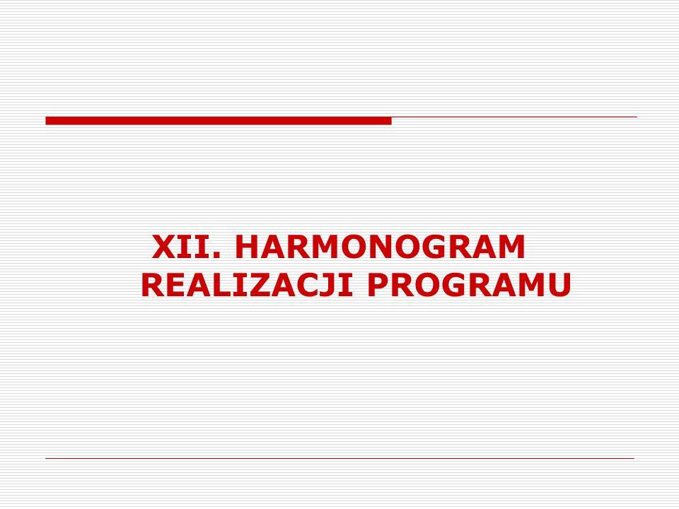 XII. HARMONOGRAM REALIZACJI PROGRAMU