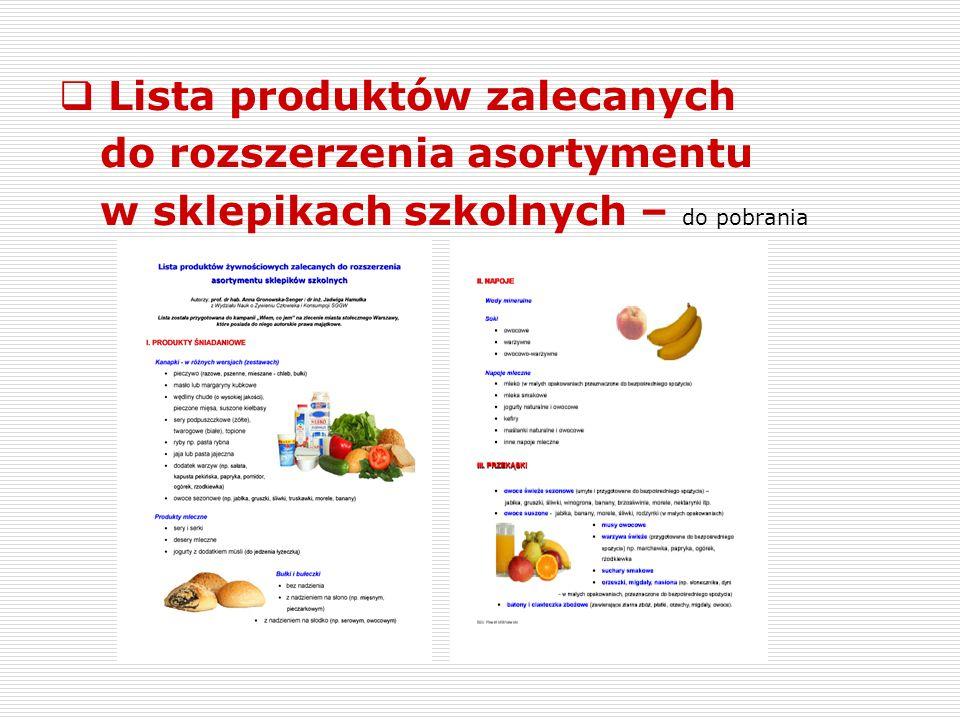 Lista produktów zalecanych do rozszerzenia asortymentu w sklepikach szkolnych – do pobrania