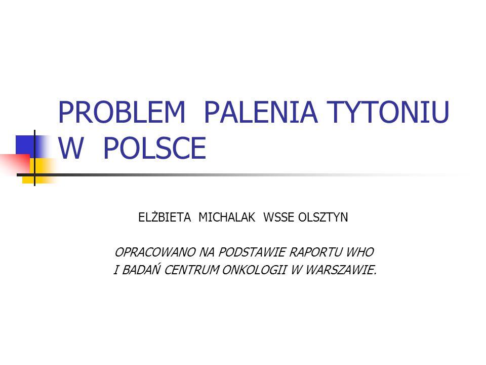 PROBLEM PALENIA TYTONIU W POLSCE ELŻBIETA MICHALAK WSSE OLSZTYN OPRACOWANO NA PODSTAWIE RAPORTU WHO I BADAŃ CENTRUM ONKOLOGII W WARSZAWIE.
