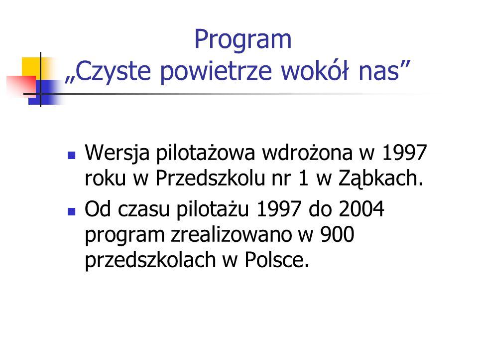 """Program """"Czyste powietrze wokół nas"""" Wersja pilotażowa wdrożona w 1997 roku w Przedszkolu nr 1 w Ząbkach. Od czasu pilotażu 1997 do 2004 program zreal"""