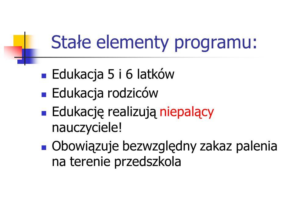 Stałe elementy programu: Edukacja 5 i 6 latków Edukacja rodziców Edukację realizują niepalący nauczyciele! Obowiązuje bezwzględny zakaz palenia na ter