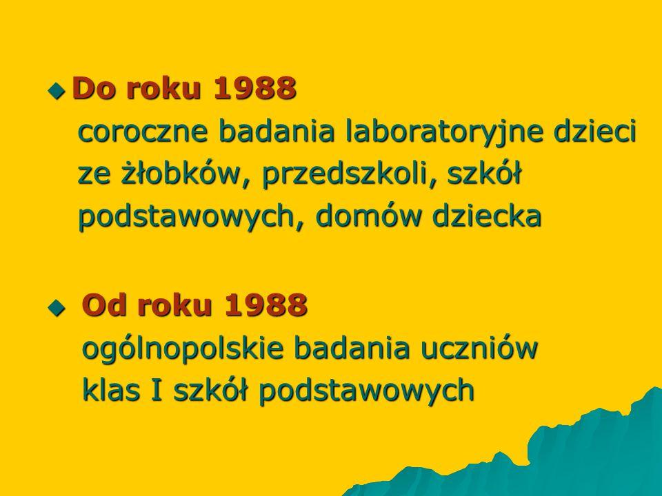  Do roku 1988 coroczne badania laboratoryjne dzieci coroczne badania laboratoryjne dzieci ze żłobków, przedszkoli, szkół ze żłobków, przedszkoli, szk