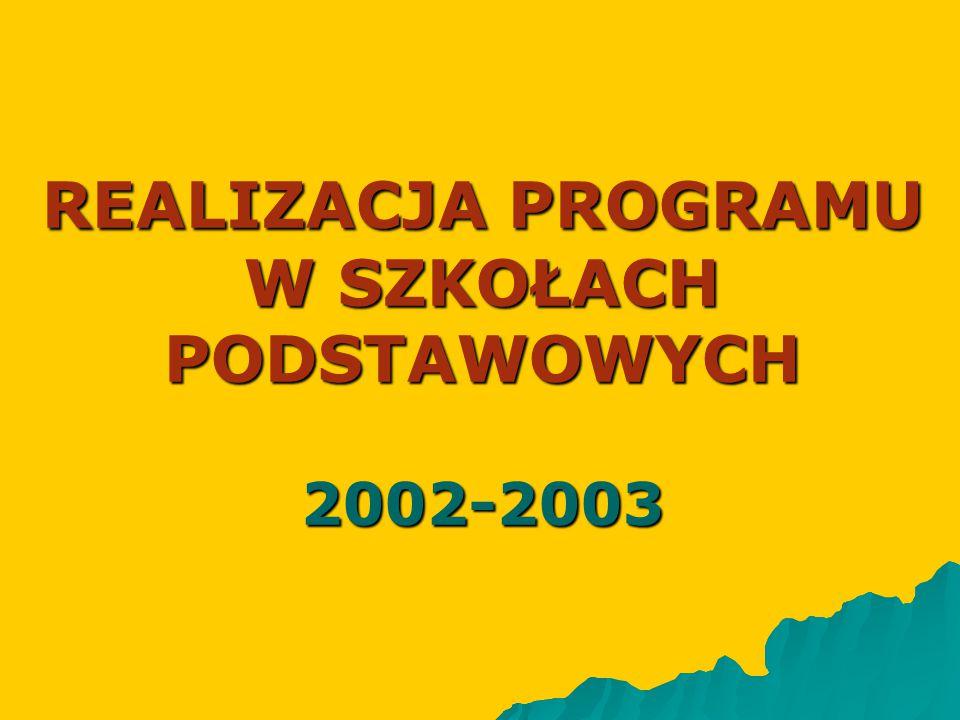 REALIZACJA PROGRAMU W SZKOŁACH PODSTAWOWYCH 2002-2003