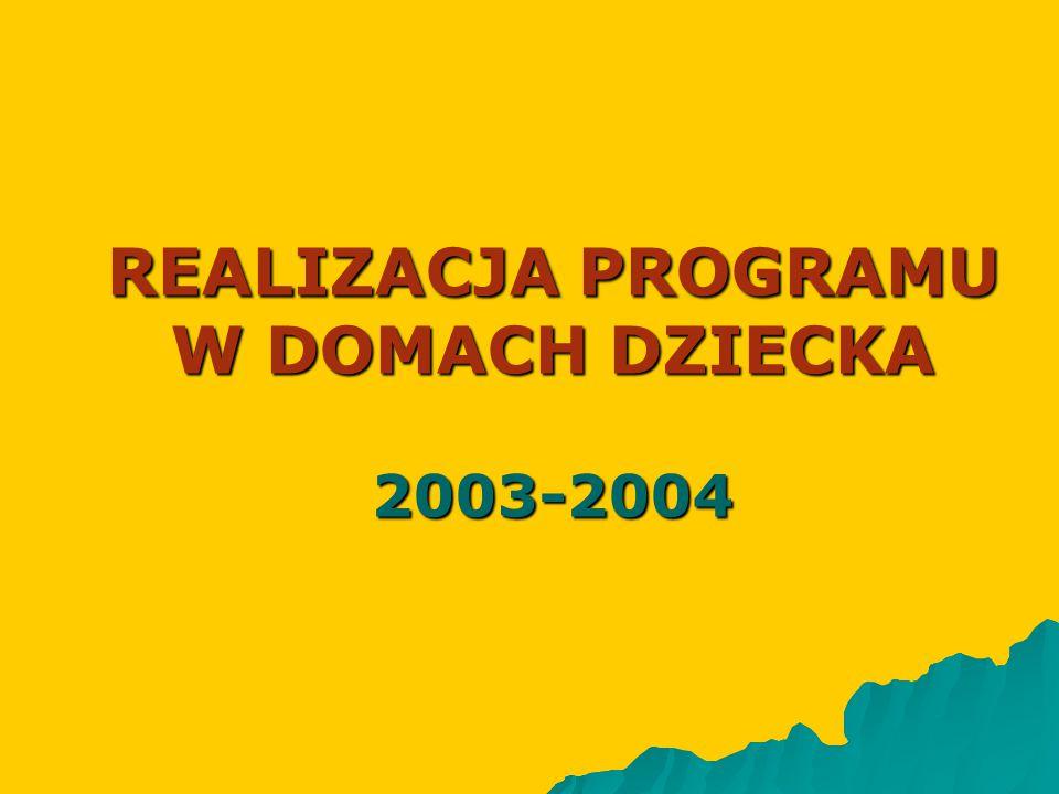 REALIZACJA PROGRAMU W DOMACH DZIECKA 2003-2004