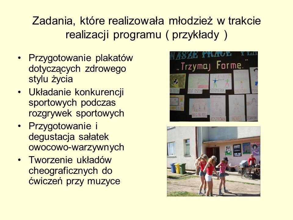 Zadania, które realizowała młodzież w trakcie realizacji programu ( przykłady ) Przygotowanie plakatów dotyczących zdrowego stylu życia Układanie konk
