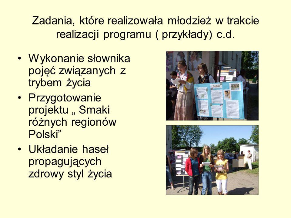 Zadania, które realizowała młodzież w trakcie realizacji programu ( przykłady) c.d. Wykonanie słownika pojęć związanych z trybem życia Przygotowanie p