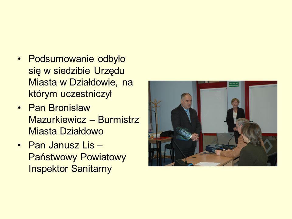 Podsumowanie odbyło się w siedzibie Urzędu Miasta w Działdowie, na którym uczestniczył Pan Bronisław Mazurkiewicz – Burmistrz Miasta Działdowo Pan Jan