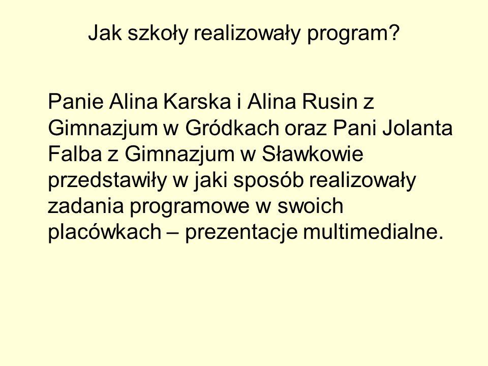 Jak szkoły realizowały program? Panie Alina Karska i Alina Rusin z Gimnazjum w Gródkach oraz Pani Jolanta Falba z Gimnazjum w Sławkowie przedstawiły w