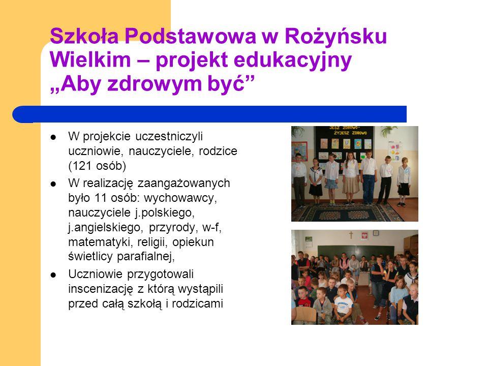 """Szkoła Podstawowa w Rożyńsku Wielkim – projekt edukacyjny """"Aby zdrowym być W projekcie uczestniczyli uczniowie, nauczyciele, rodzice (121 osób) W realizację zaangażowanych było 11 osób: wychowawcy, nauczyciele j.polskiego, j.angielskiego, przyrody, w-f, matematyki, religii, opiekun świetlicy parafialnej, Uczniowie przygotowali inscenizację z którą wystąpili przed całą szkołą i rodzicami"""