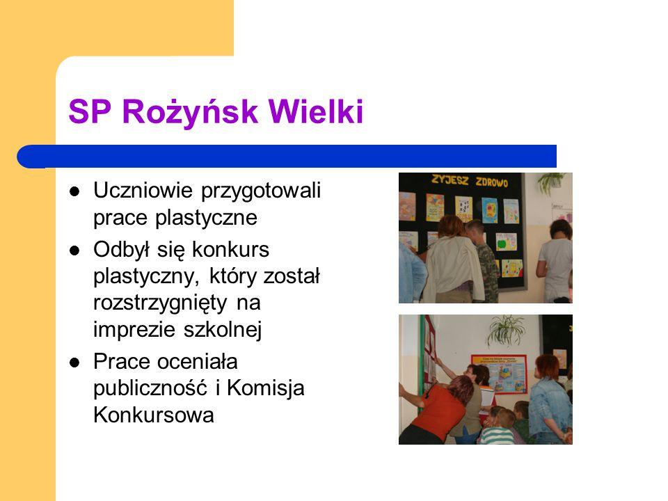 SP Rożyńsk Wielki Uczniowie przygotowali prace plastyczne Odbył się konkurs plastyczny, który został rozstrzygnięty na imprezie szkolnej Prace oceniała publiczność i Komisja Konkursowa